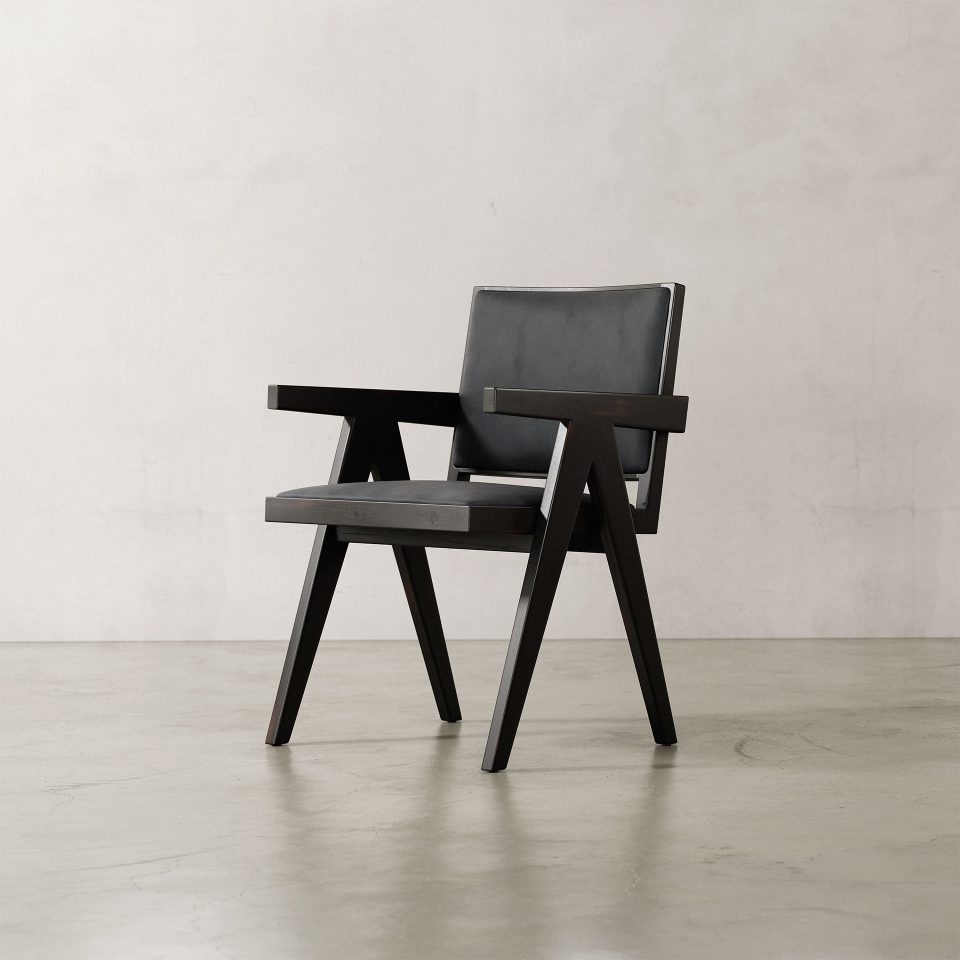 Jeanneret-Armchair-Nubuck-Black