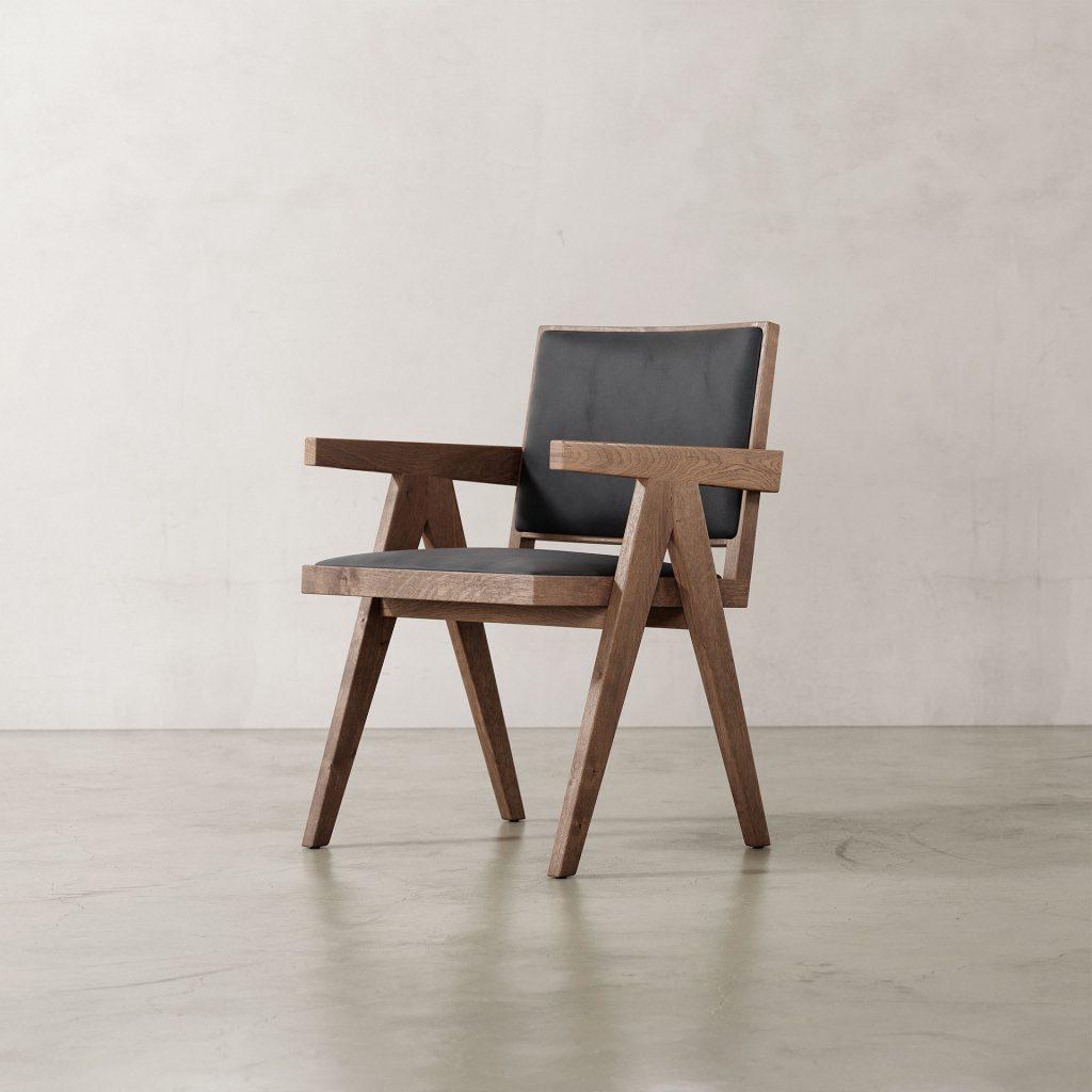 Jeanneret-Armchair-Nubuck-Black-Weathered-Frame