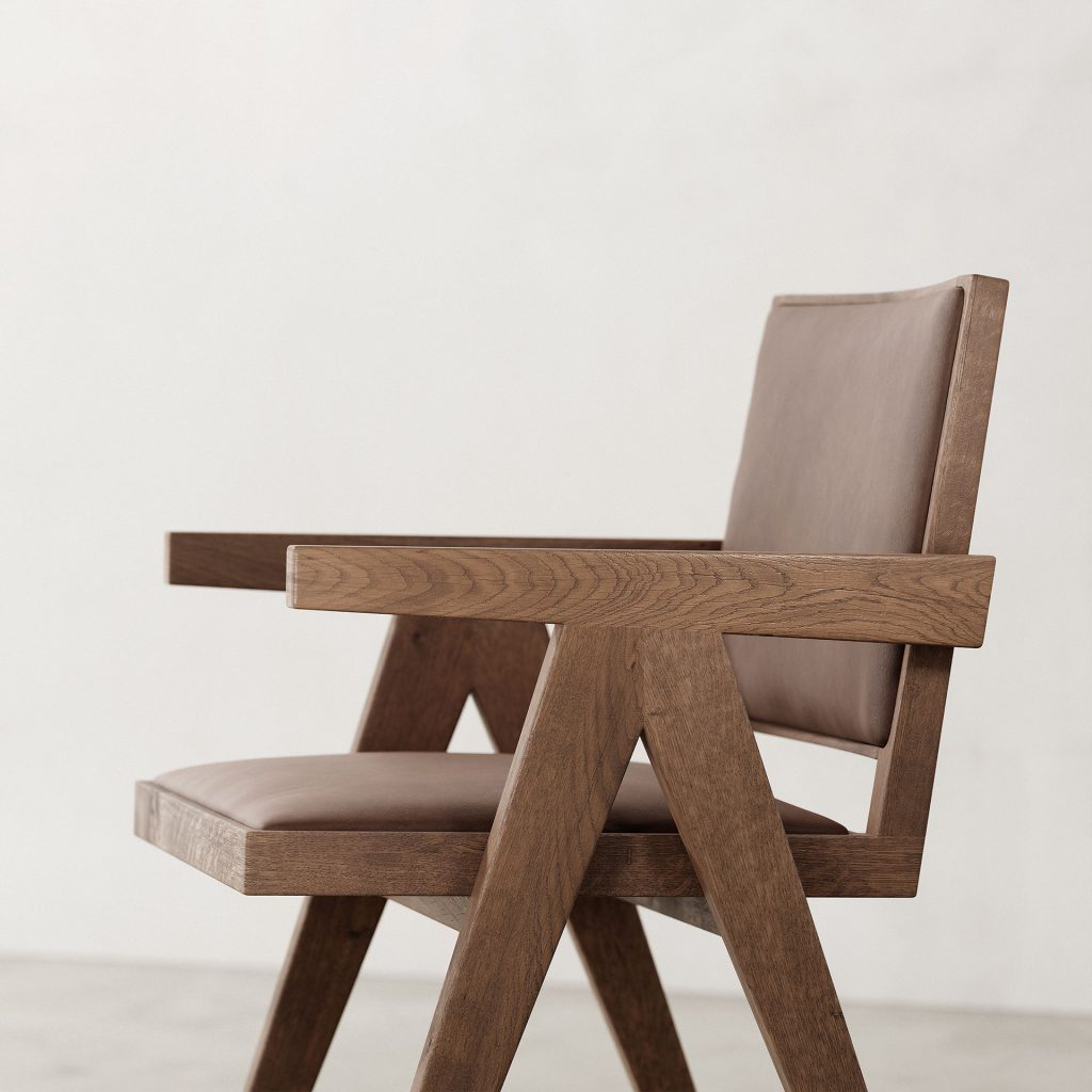 Jeanneret-Armchair-Nubuck-Brown-Weathered-Frame